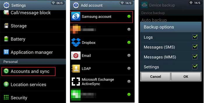 samsung messages backup with samsung account