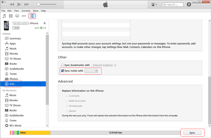 how to transfer notes from iphone to computer with itunes
