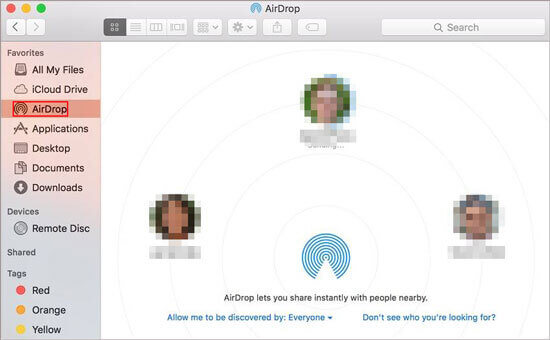 set up airdrop on mac to sync contacts from iphone to mac