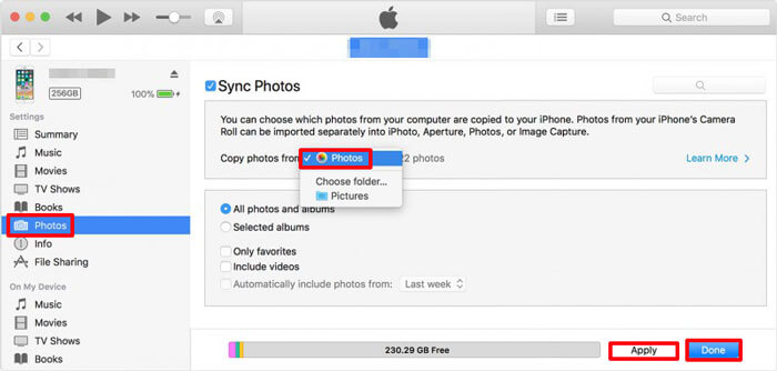 transfer photos from mac to iphone with itunes