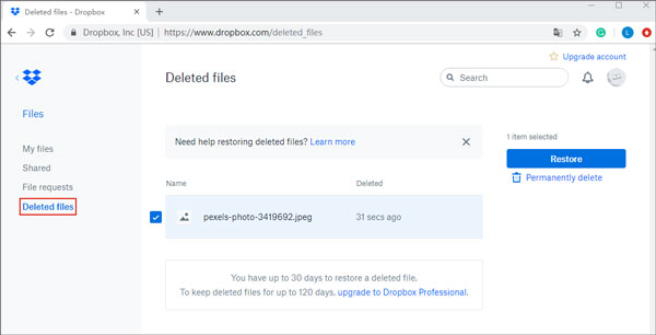 how to retrieve deleted videos on samsung with dropbox