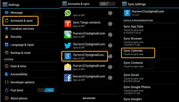 sync android calendar with ical