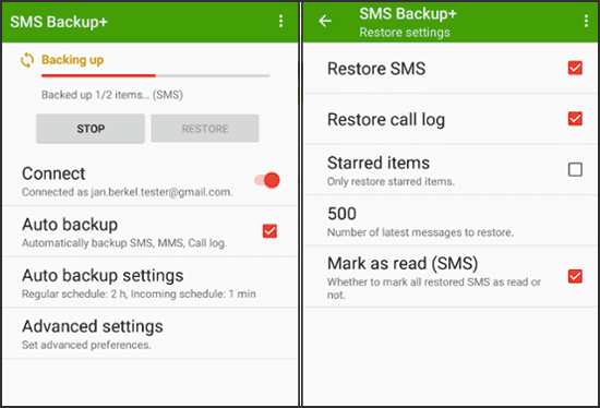 how to retrieve deleted texts on android without computer with sms backup+