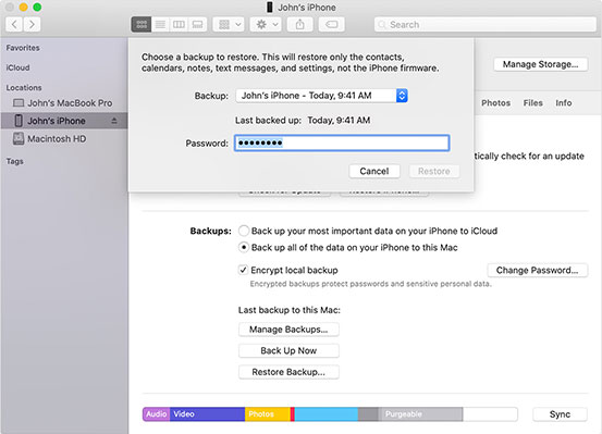 how to transfer data from iphone to iphone without icloud via finder