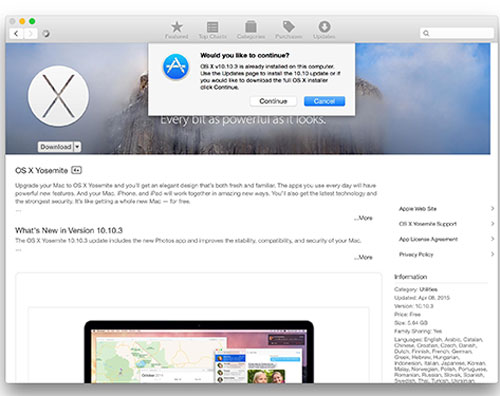 update macos in app store if iphone won't connect to mac
