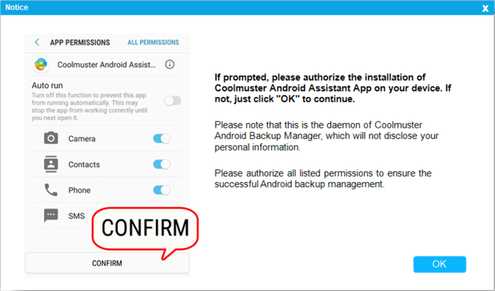 authorize app on android