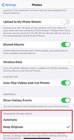 change photos app settings