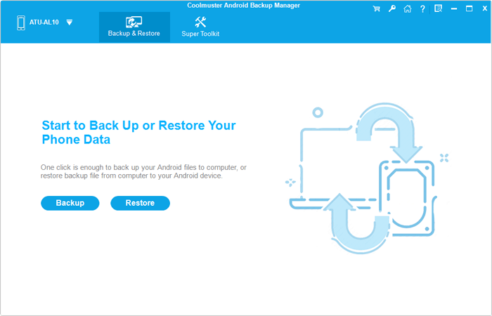 main interface of android backup manager