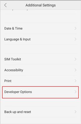 go to developer options