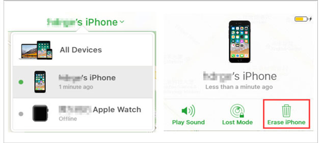 how to factory reset iphone without itunes via find my iphone