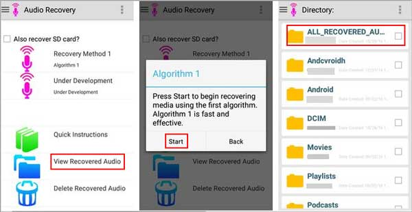how to recover deleted audio files from android phone via audio recovery