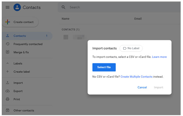 start iphone to vivo data transfer via gmail contacts