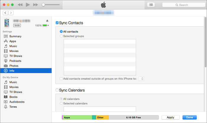 how to sync contacts from iphone to mac with itunes