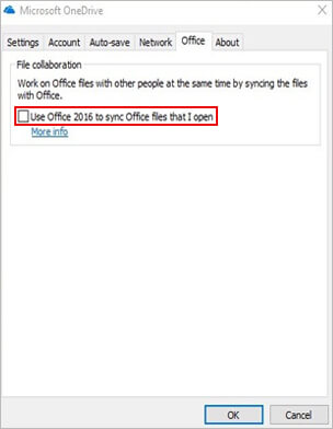 disable office sync if onedrive not syncing