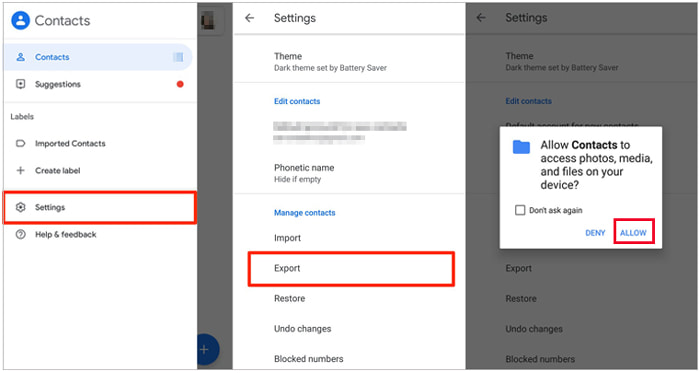 how to transfer contacts to new phone via google contacts