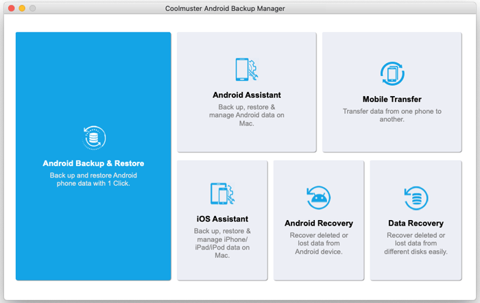enter android backup manager for mac from toolbox