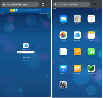 how to access icloud photos on android via browser