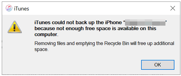 iphone backup not enough space on computer