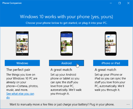 how to transfer photos from android to pc windows 10 using phone companion