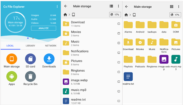 android storage manager - cx file explorer