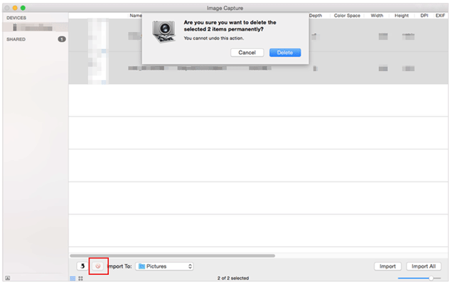 delete iphone photos from mac using image capture
