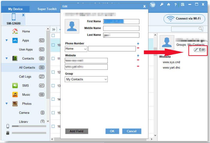 edit contacts via android contacts manager