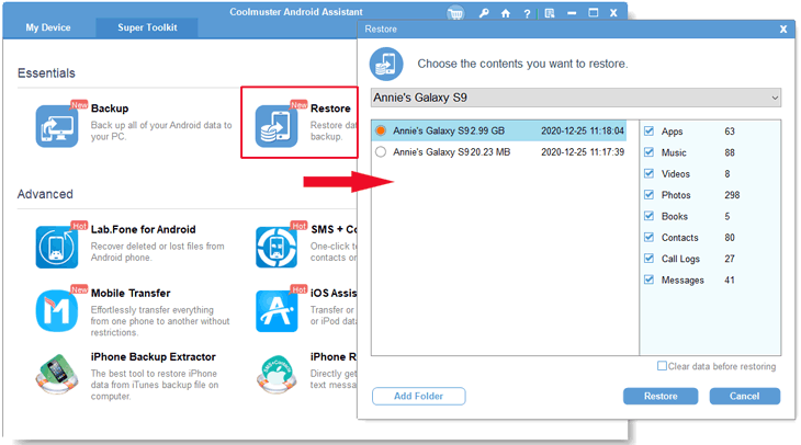restore lenovo mobile backup from pc to device in one click via coolmuster android assistant