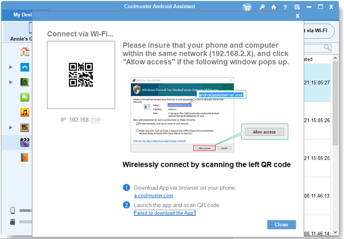 connect android to computer with wifi using coolmuster android assistant