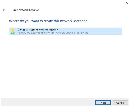 choose a custom network location on pc