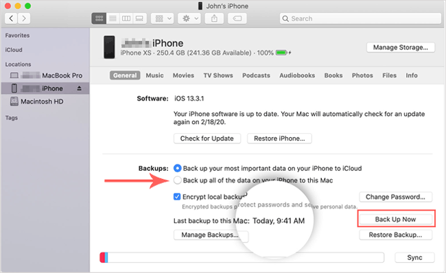 back up ios device to external hard drive on mac