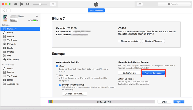 use itunes to restore a locked iphone