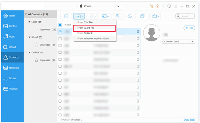 one click to import google contacts to iphone