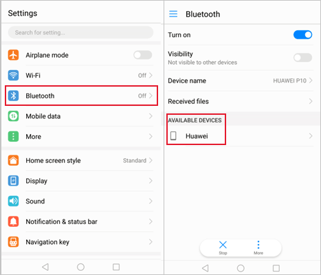 how to transfer data from huawei to huawei via bluetooth