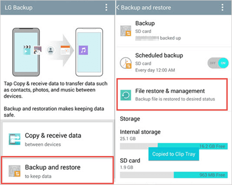 recover photos after factory reset android via local backup
