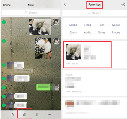 how to transfer wechat history to new phone via adding to favourites