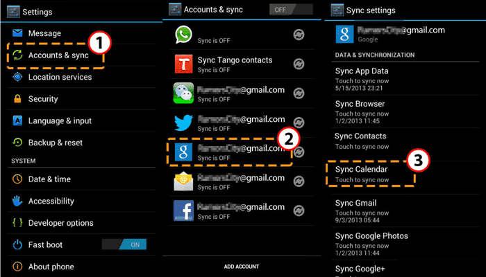 how to back up calendar on android via google account