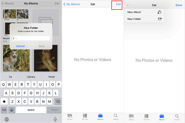 organize albums in folders on iphone