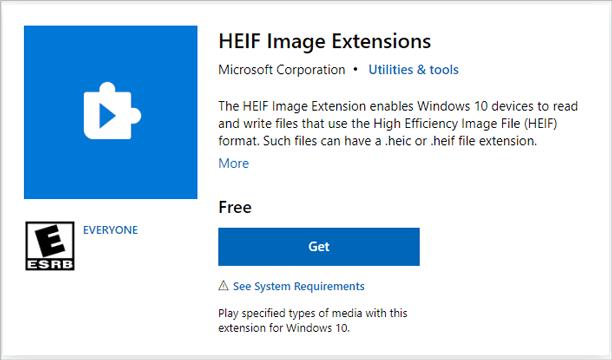 convert heic to jpg windows via heif image extensions