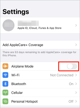 turn off airplane mode to fix iphone text messages disappeared