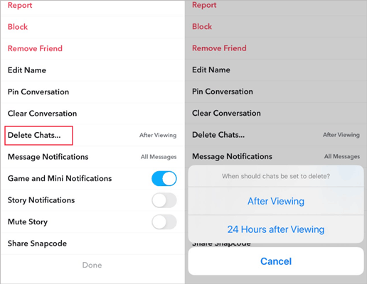 how to delete snapchat messages automatically