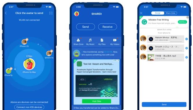 shareit review ios interface