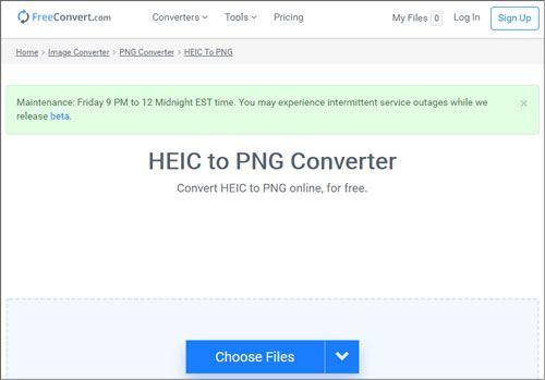 convert heic to png on windows 10 via freeconvert
