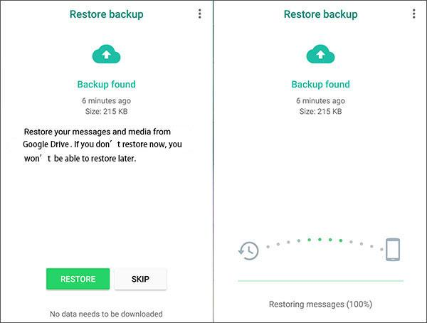 restore whatsapp images from google drive