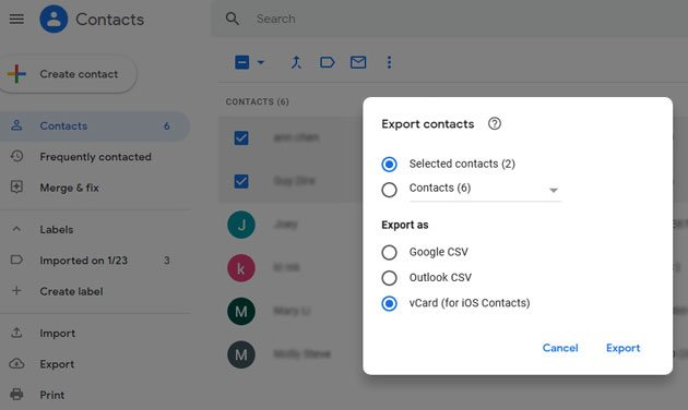 save google contacts to iphone quickly