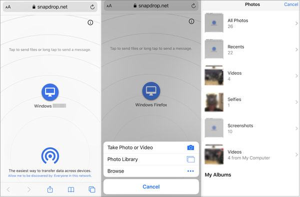 send photos from iphone to hp computer with snapdrop