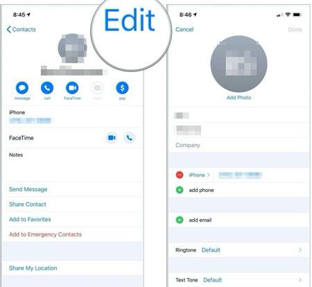 manually edit contacts on iphone