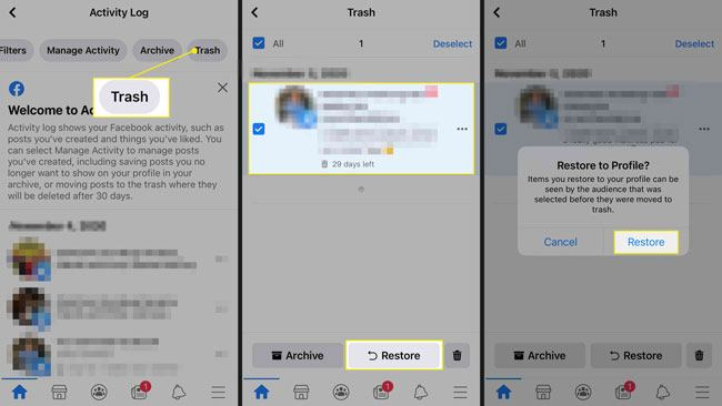 retrieve facebook photos from facebook trash folder