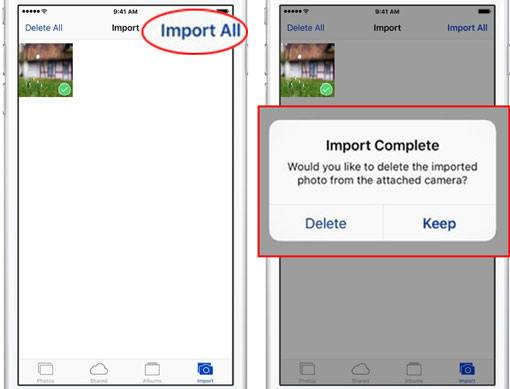 import photos from sd card to iphone via an adapter