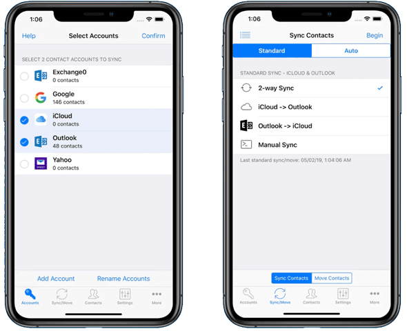 manage contacts on iphone with contact mover and account sync