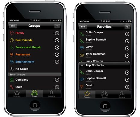 use tacts to organize ios contacts